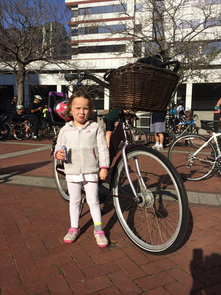 Lily-Louise posing with the Mama's Bike in Cape Town
